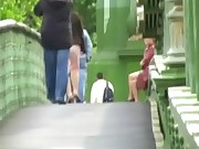 Flashing and squirting amateur in public with crazy filthy Shaz
