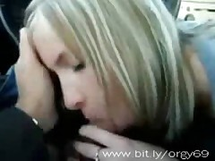girl sucking cock in car