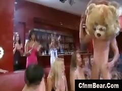 Amateur bride sucks stripper cock at CFNM party