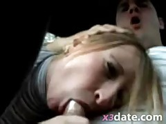 Amateur condom blowjob in car from exgf
