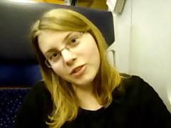 19 years old german teen masturbates in train