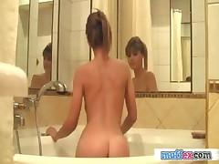 Sweet brunette girlfriend takes a bath