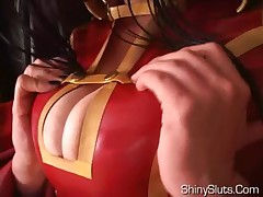 Occidental geisha in latex kimono, big oily tits, shaved pussy, glass dildo