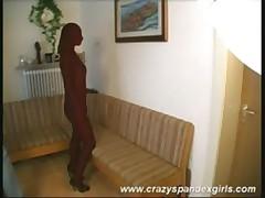Crazy spandex girl hairy pussy