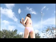 Girl in Bikini Playing Tennis