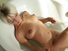 Beautiful fairhair babe morning shower