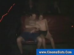 Real amateur nympho gets gangbanged in porn cinema