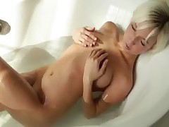 stunning blonde babe morning shower