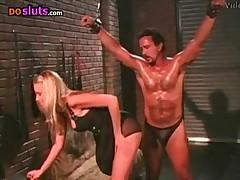 Nicole Sheridan spanks her man slave