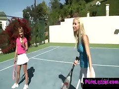 lesbian girls play tennis and start kissing