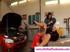 Lucky guy fucks two fully clothed ladies