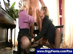 Clothed trio with lots of hot golden shower fun