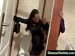 Clothed glam slut gloryhole slut fucks dick