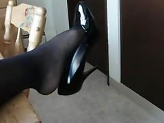 Black pantyhose and heels
