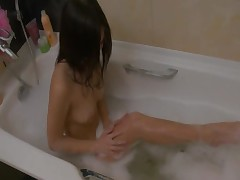 Insane bath masturbation in bedroom room
