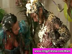 Fully clothed wam ladies have wet and messy wrestling party
