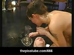 Weird piss play with piss drinking and pee insertion