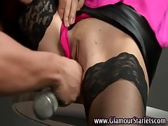 Clothed fetish stockings hottie get a microphone