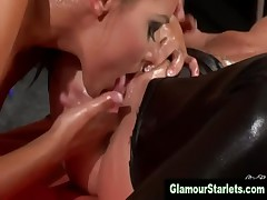 Glamorous clothed lesbos have sixty nine