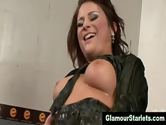 Clothed drenched glam eurowhore gets cumshot