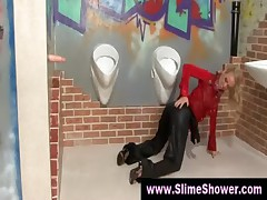 Messy fetish slime shower masturbation