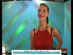 Clothed german slut gets bukkake in reality groupsex