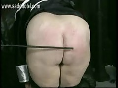Horny nun got spanked on her fat ass and hands with a stick by her priest