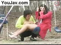 Asian pantyhose fetish outdoors