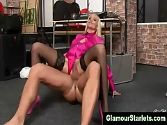 Glam slut gives foot job