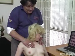 German blonde banged on the desk Acheron -