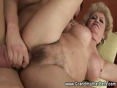 Naughty cockstarved granny gets drilled