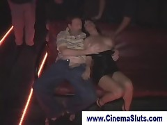 Exhibitionist gangbang in a porn cinema