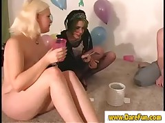 Amateur lesbians lick each others pussies in real reality sex party