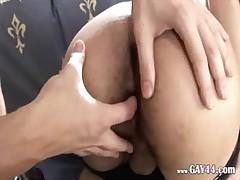 Hairy guys having butt punished