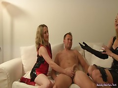 2 milfs in gloves and boots handjob