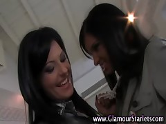 Lesbian brunettes go down on each other
