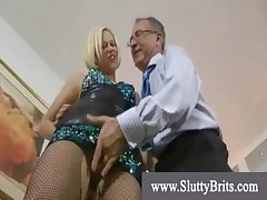 Horny youngster in pantyhose and heels meets  perverted grandpa