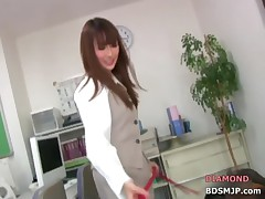 Forced handjob humiliation with office mistress