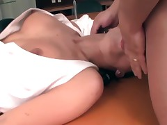 Secretary in stockings fucked on an office desk