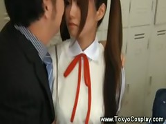 Teen asian uniform gets hot for teacher