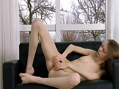 Ultra skinny vagina opening on the couch