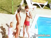 Three teens secret fucking by the pool