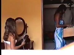 Peeping at 2 Brazilian Girls Getting Dressed - Voyeur