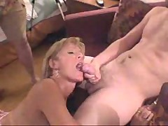 Slutty milfs in an orgy getting nailed