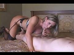 Lusty busty slut fucked in her bed