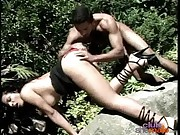 Busty shemale rides cock at outdoors