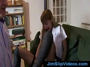 British office slut riding older man