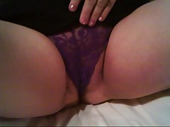 My mature wife in panties plays with pussy fucks dildo