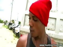 Ebony thug convinced to suck
