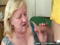 Granny gives extra gift to his cock